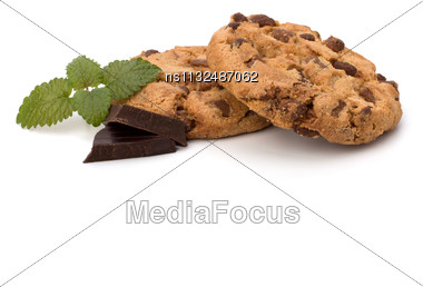 Chocolate Homemade Pastry Biscuits Isolated On White Background Stock Photo