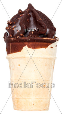 Chocolate Ice Cream Cone Isolated On White Background Stock Photo