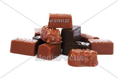 Chocolate Isolated On White Background. Stock Photo