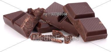 Chopped Chocolate Bars Isolated On White Background Stock Photo