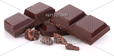 Chopped Chocolate Bars Isolated On White Background Stock Photo