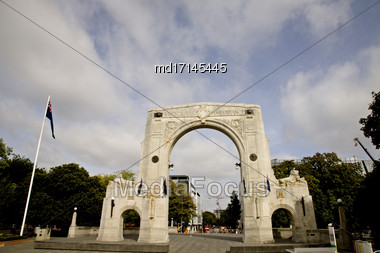 Christchurch New Zealand Bridge Of Remembrance Memorial Stock Photo