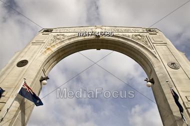 Christchurch New Zealand Bridge Of Remembrance Memorial Stock Photo