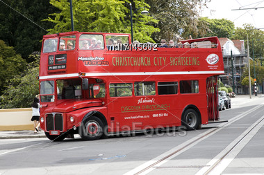 Christchurch New Zealand Tram Transportation Downtown Tourism Stock Photo