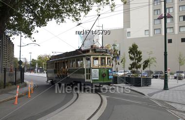 Christchurch New Zealand Tram Transportation Downtown Tourism Stock Photo