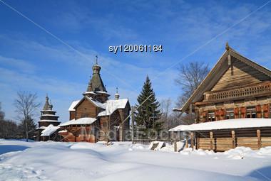 Christian Chapel In Winter Village Stock Photo