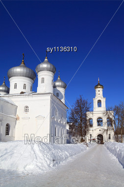 Christian Orthodox Male Priory Amongst Snow Stock Photo