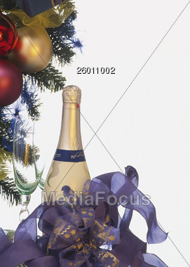 Christmas and Champagne Bottle Stock Photo