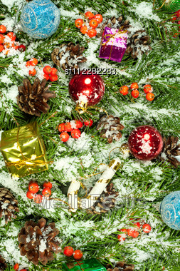 Christmas Background With Balls And Decorations And Snow, Holly Berry, Cones Isolated On White Stock Photo