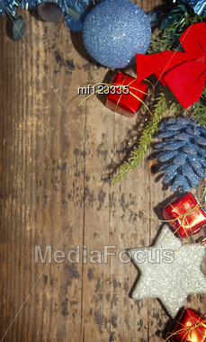 Christmas Background With Blue And Red Decoration Stock Photo