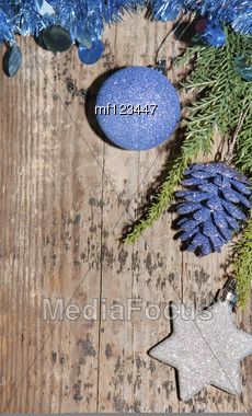 Christmas Background With Silver And Blue Decoration Stock Photo