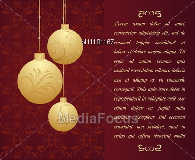 Christmas Background With Gold Balls Stock Photo