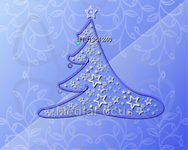 Christmas Background With Pine Tree Stock Photo