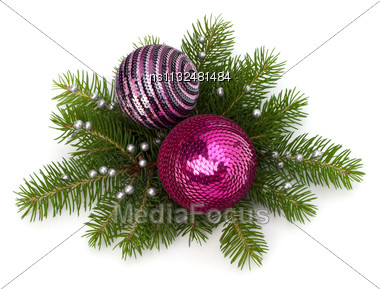 Christmas Ball Decoration Isolated On White Background Stock Photo
