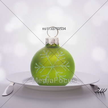 Christmas Ball Decoration On Plate. Feast Concept Stock Photo