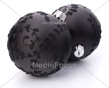 Christmas Ball Isolated On White Background Close Up Stock Photo