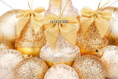 Christmas Balls And Bells Closeup Picture Stock Photo