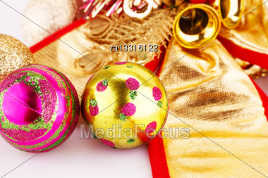 Christmas Balls And Decorations Closeup Image Stock Photo