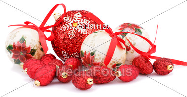 Christmas Balls And Cones Isolated On White Background Stock Photo