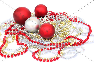 Christmas Balls And Garlands Stock Photo