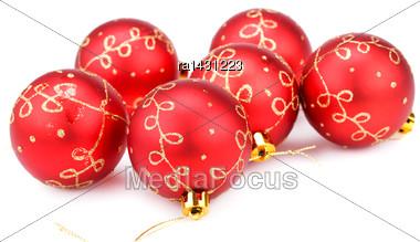 Christmas Balls Isolated On White Background Stock Photo