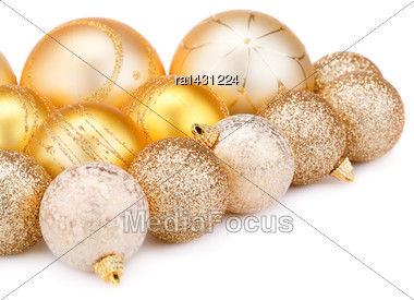 Christmas Balls Isolated On White Background Stock Photo