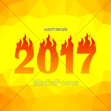 Christmas Banner. 2017 New Year Poster On Yellow Orange Polygonal Background Stock Photo