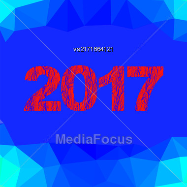 Christmas Banner. 2017 New Year Poster On Blue Polygonal Crystal Winter Background Stock Photo