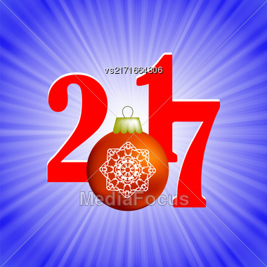 Christmas Banner. 2017 New Year Poster On Blue Winter Background Stock Photo