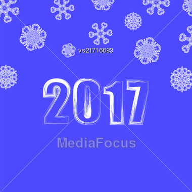 Christmas Banner. 2017 New Year Poster On Blue Snowflake Winter Background Stock Photo