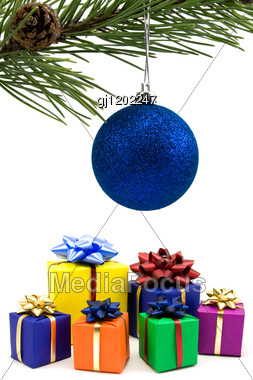 blue christmas bauble background with ornaments and bows hanging from ...