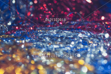 Christmas Bokeh Of Red Blue And Yellow Colours Stock Photo