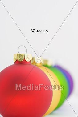 Christmas Bulbs in a Row Stock Photo