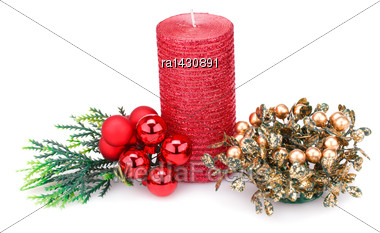 Christmas Candle, Balls And Decoration Isolated On White Background Stock Photo
