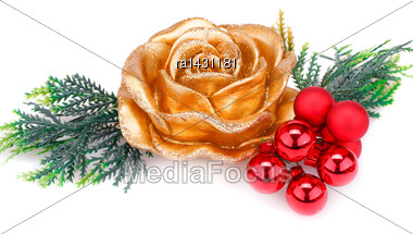 Christmas Candle, Balls And Fir Tree Branch Isolated On White Background Stock Photo