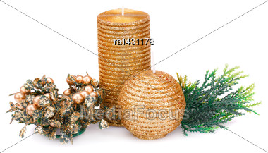 Christmas Candle, Balls And Fir Tree Branches Isolated On White Background Stock Photo