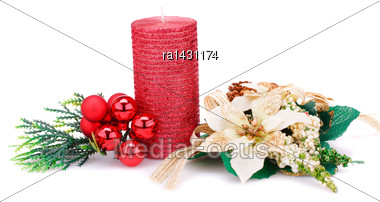 Christmas Candle, Balls And Flower Decoration Isolated On White Background Stock Photo