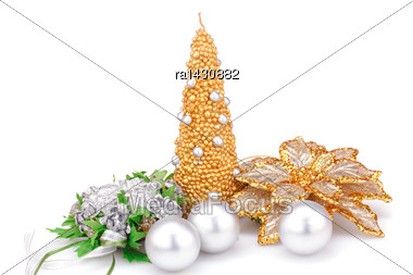 Christmas Candle, Balls And Flower Decorations Isolated On White Background Stock Photo