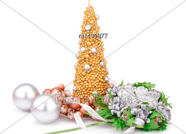 Christmas Candle, Balls And Flowers Isolated On White Background Stock Photo