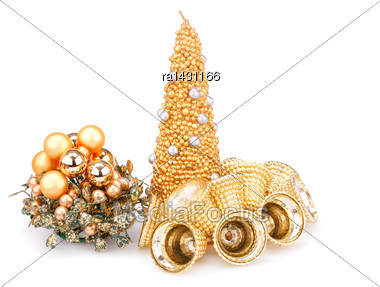 Christmas Candle, Bells And Decoration Isolated On White Background Stock Photo