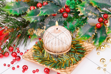 Christmas Candle And Decoration On Gray Background Stock Photo
