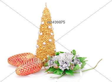 Christmas Candle, Flowers And Cones Isolated On White Background Stock Photo