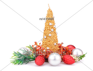 Christmas Candles, Balls And Decoration With Red Stones Isolated On White Background Stock Photo