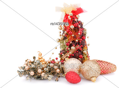 Christmas Candles, Balls And Decoration Isolated On White Background Stock Photo
