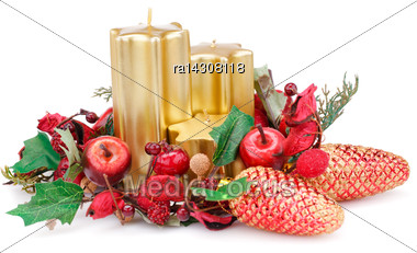 Christmas Candles, Cones And Decoration Isolated On White Background Stock Photo