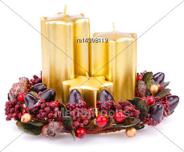 Christmas Candles And Decoration Isolated On White Background Stock Photo