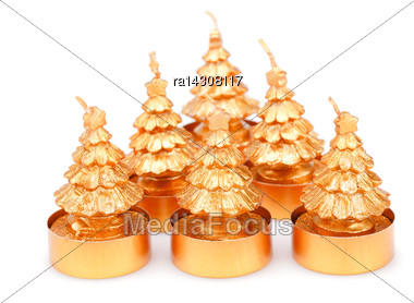 Christmas Candles Isolated On White Background Stock Photo