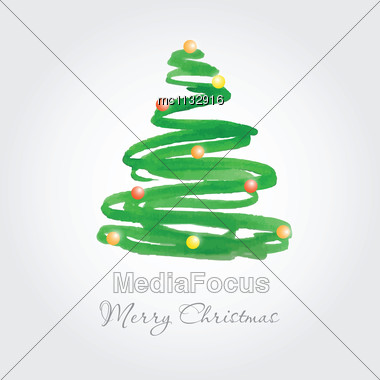 Christmas Card With Watercolor Painted Fir Tree With Multicolored Balls Stock Photo