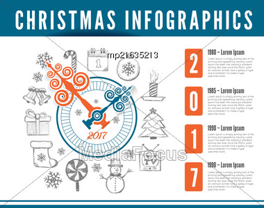 Christmas Clock. Vector Infographics With Drawing Background Stock Photo