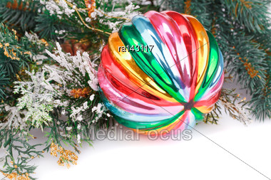Christmas Colorful Ball, Fir-tree Branch On White Background Stock Photo